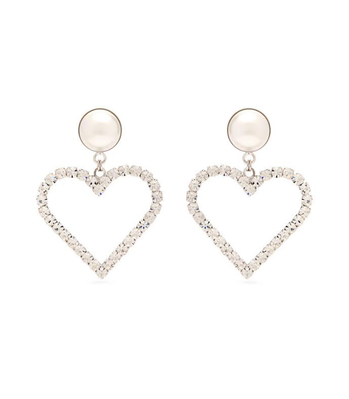 crystal-embellished heart-charm earrings