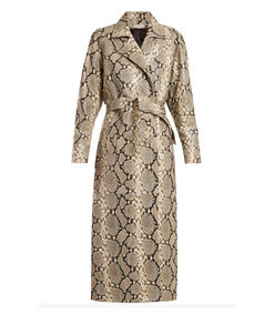 python print belted leather coat