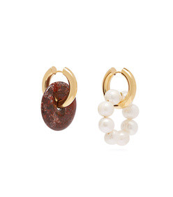 mismatched pearl and stone hoop earrings