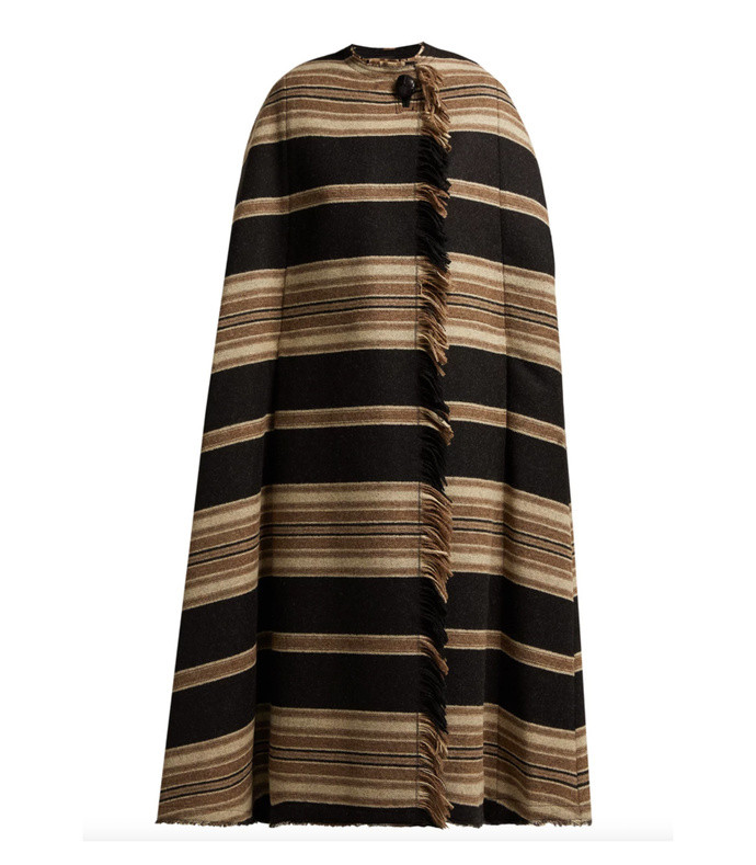 huan fringed striped cape