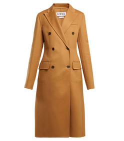 double breasted wool and cashmere blend coat
