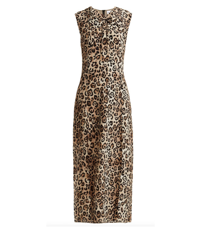 knot front leopard print silk dress