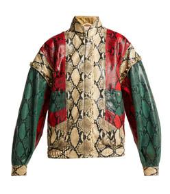 python print leather bomber jacket