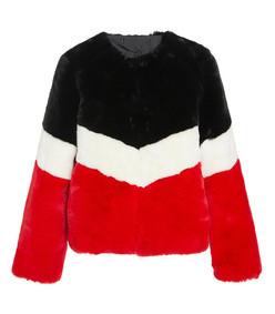 marianna chevron faux fur coat