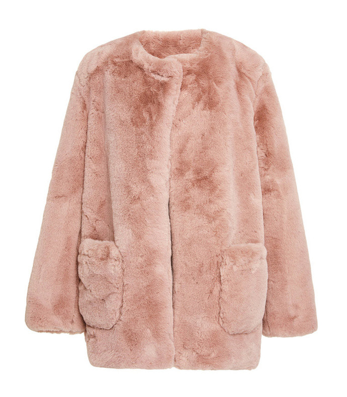jessica faux fur collarless coat