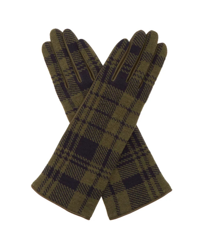 tartan wool and leather gloves