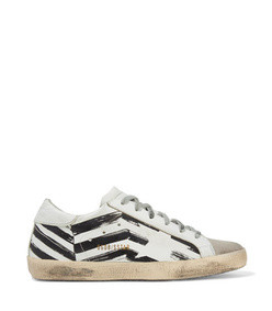 superstar distressed printed leather and suede sneakers