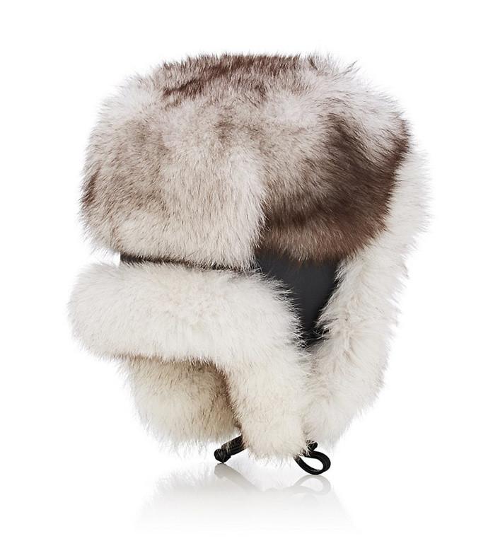 men's fur & leather trapper hat