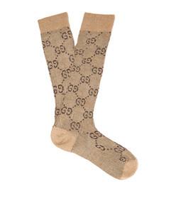 gg intarsia metallic cotton blend socks