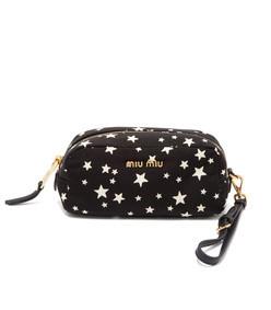 faille star print pouch