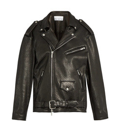 oversized tumbled leather biker jacket
