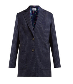 alfie pinstripe single breasted wool blend blazer