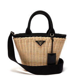wicker and canvas basket bag