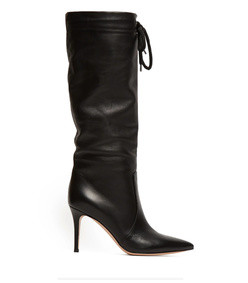 drawstring knee high 85 leather boots