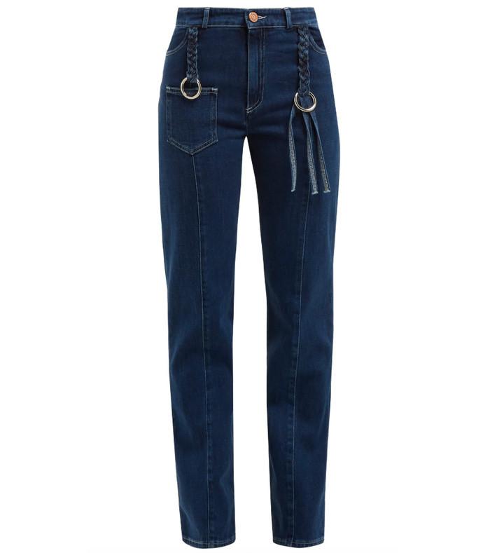 braided straight leg jeans