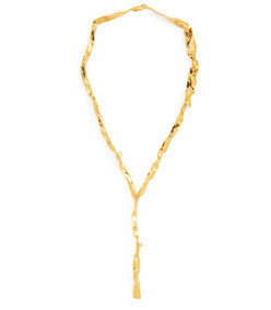 lariat crinkle effect gold plated necklace