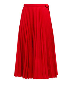 pleated high rise cotton blend wrap skirt