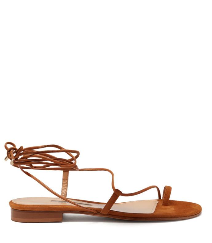susan wrap around suede sandals