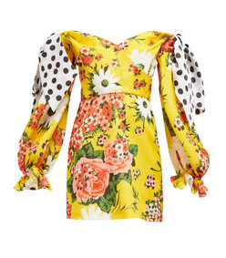 gazar floral print off the shoulder silk dress
