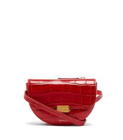 anna crocodile effect leather belt bag