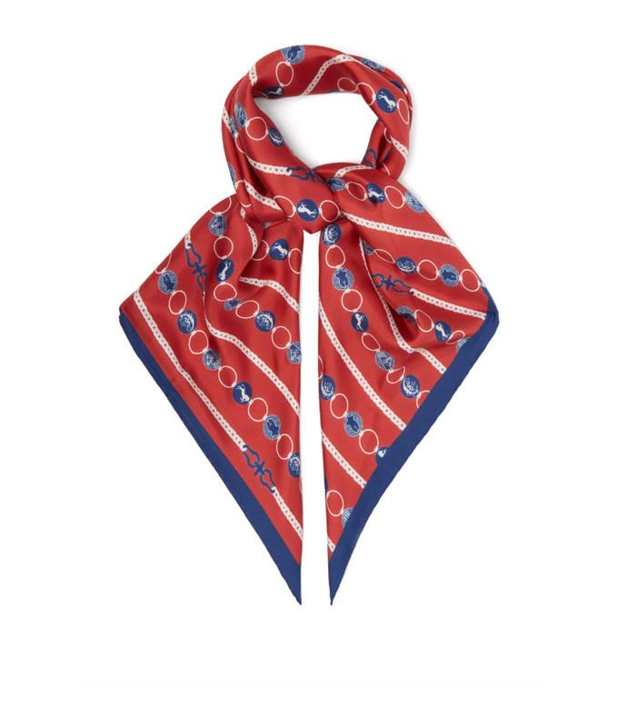 baroque logo print silk scarf