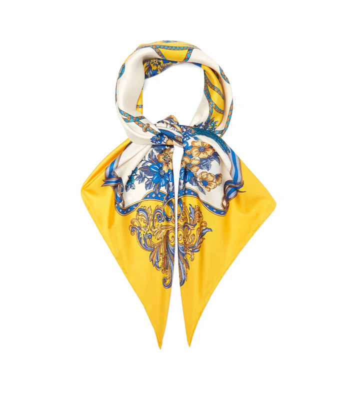 floral and tassel print silk twill scarf