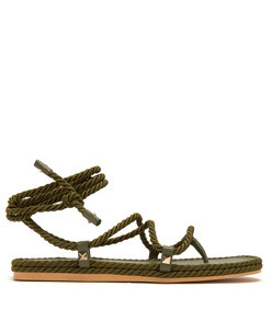 torchon satin rope wraparound sandals