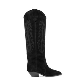 denzy embroidered suede knee boots