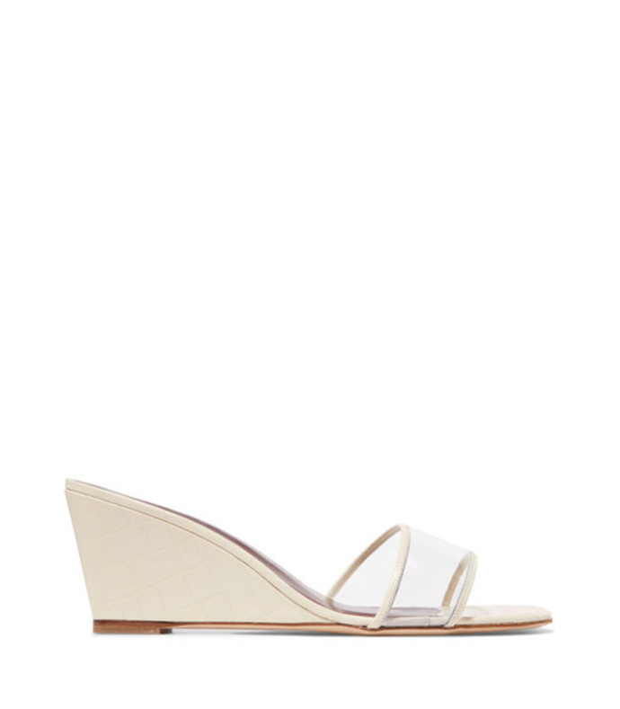 billie croc-effect leather and pvc wedge sandals