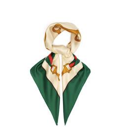 web stripe print silk scarf