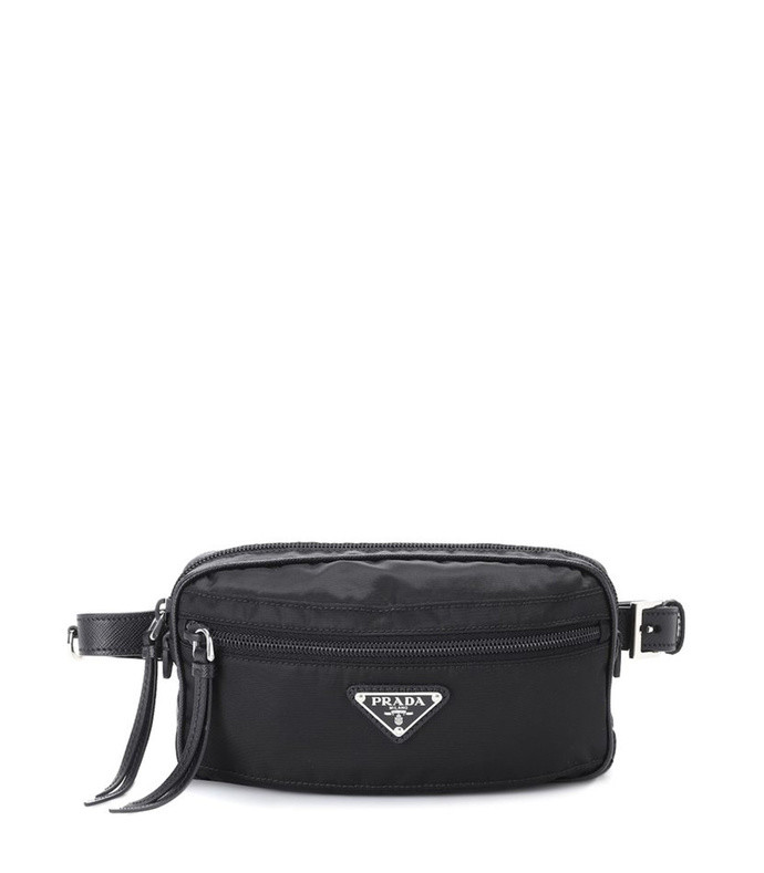 leather-trimmed belt bag