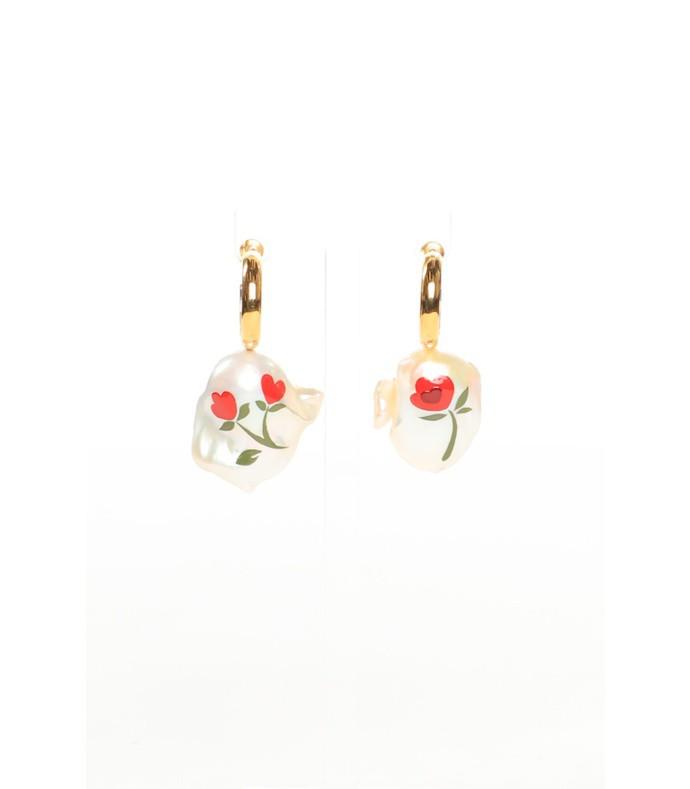 hand painted baroque pearl earrings