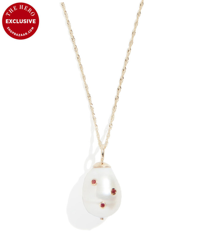 14k bezel set baroque cultured pearl necklace with rubies