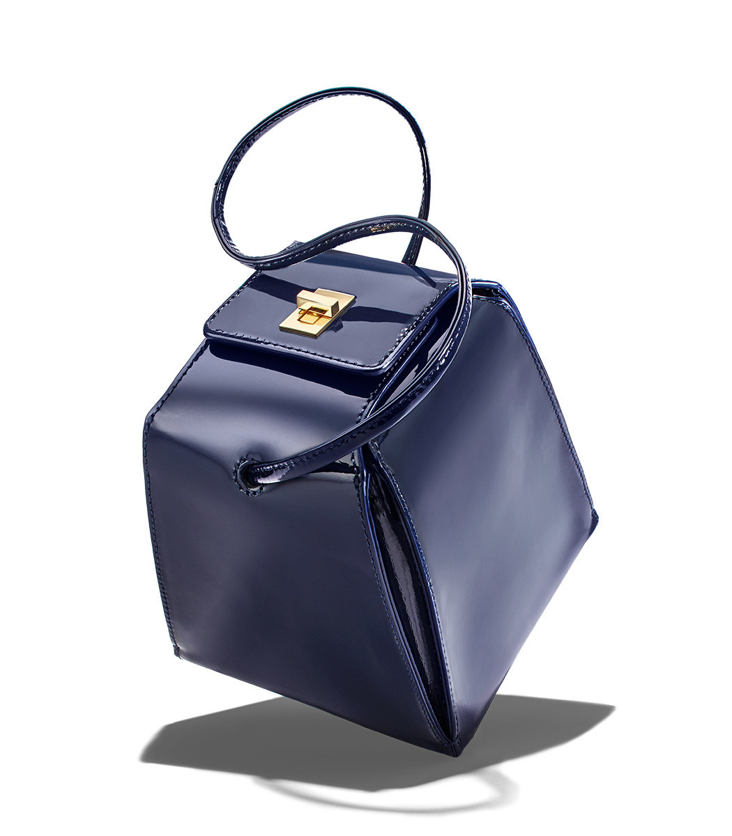 6c1b78468808 Home   Neely   Chloe   Pyramid Bag in Navy Patent. prev