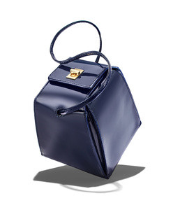 pyramid bag in navy patent