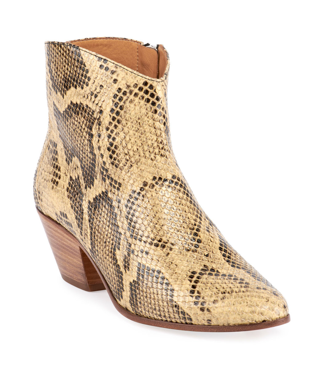 aliexpress fashion style of 2019 newest collection Isabel Marant Dacken Snake-Print Ankle Boots - ShopBAZAAR