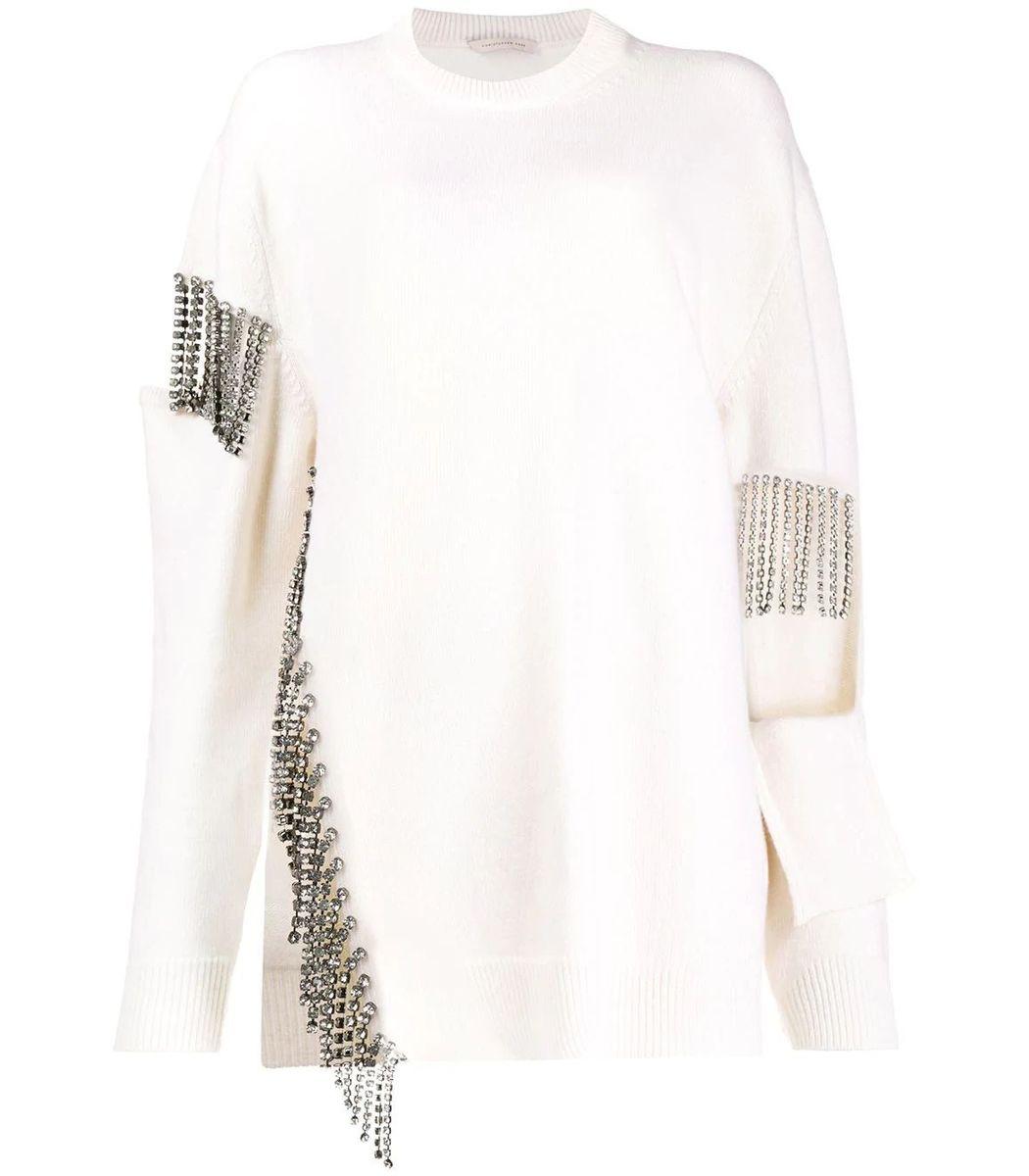 Christopher Kane Cutout Cupchain Sweater, White