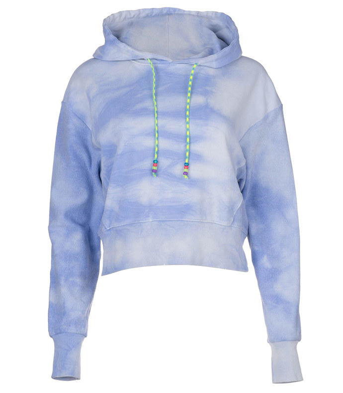 blue tie dye cropped hoodie