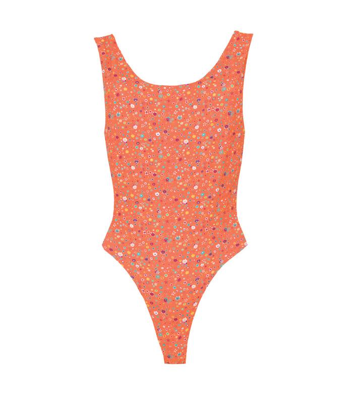 orange key biscayne printed bodysuit