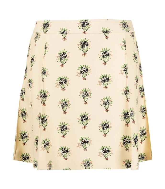 floral bouquet printed mini skirt
