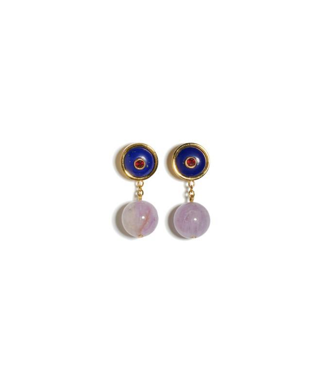 yolo earrings in lapis