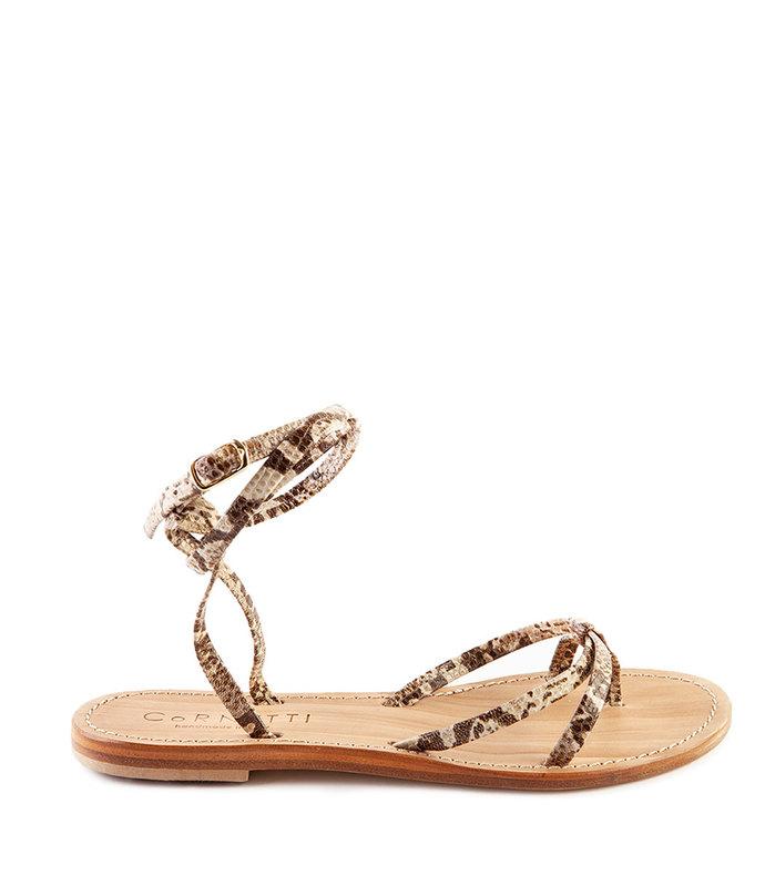 379b832b0ca5 Cornetti. Vulcanello Beige Python Stamped Leather Sandals