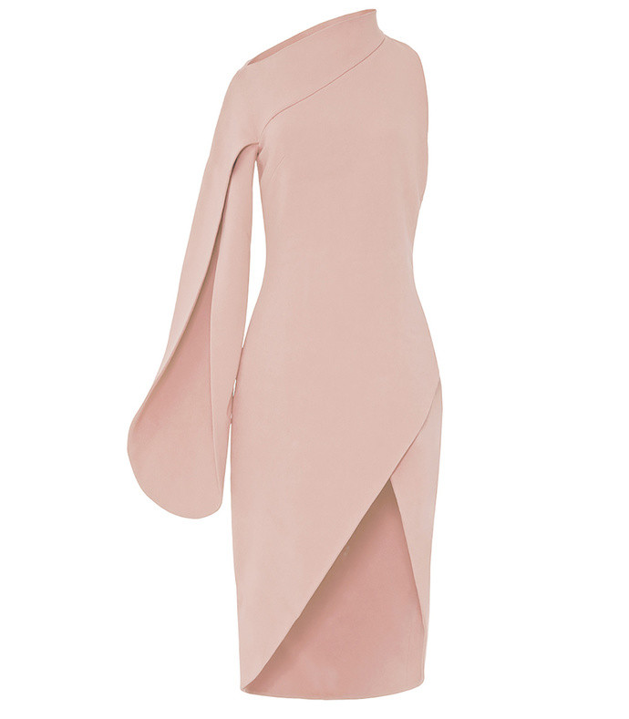 pink asymmetric cocktail dress