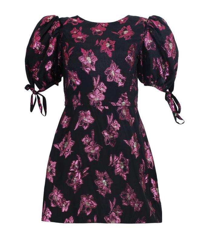 the wrapsody black and fuchsia mini dress