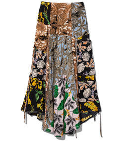 patchwork-print a-line skirt