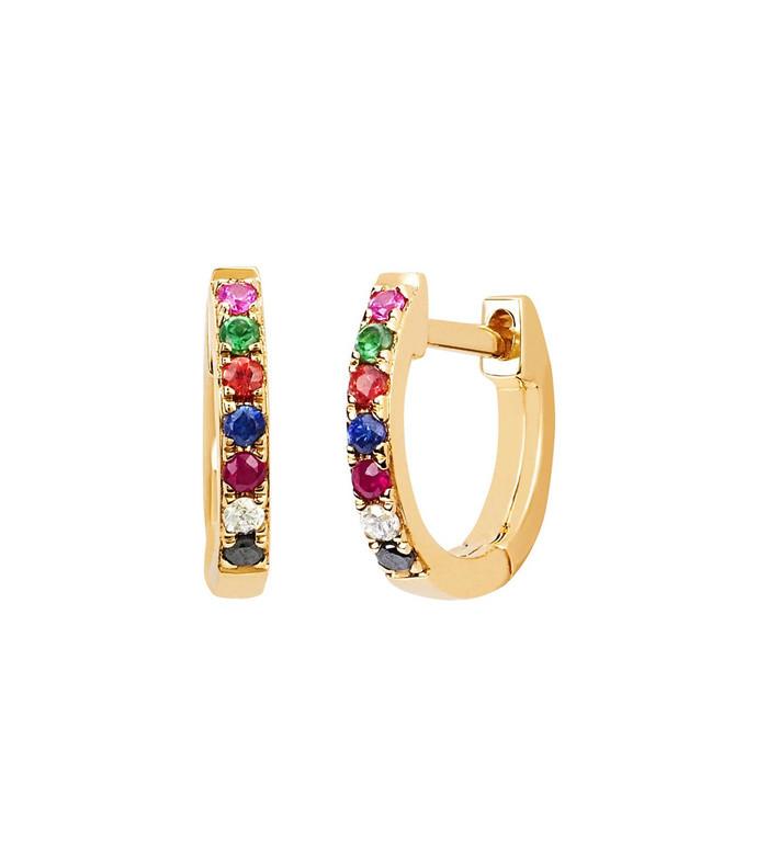 rainbow mini huggie earrings