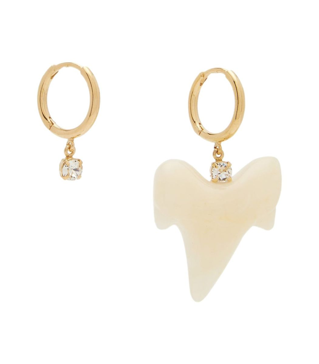 Simone Rocha Tooth And Crystal Hoop Earrings
