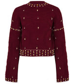 cabernet embellished bell sleeve sweater