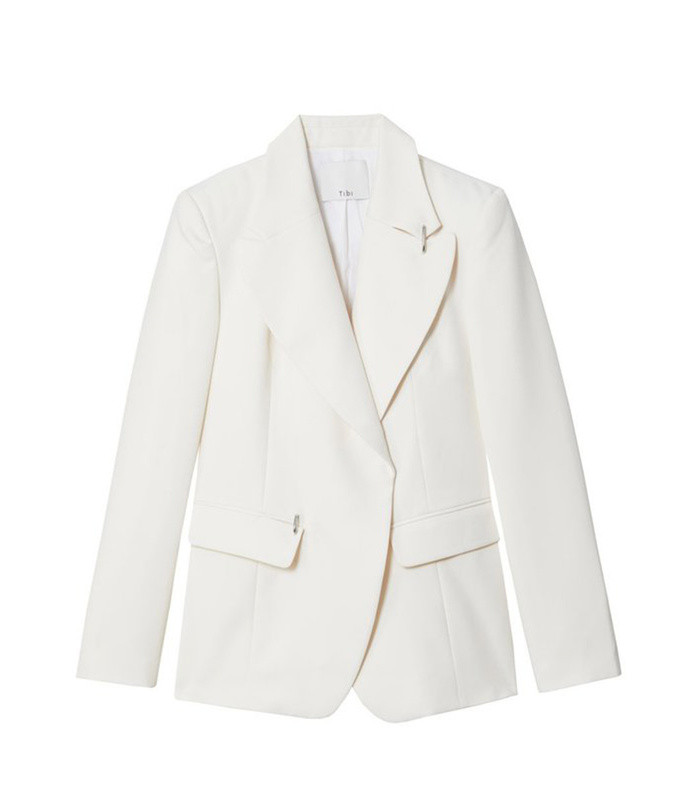 recycled techy twill peaked lapel blazer
