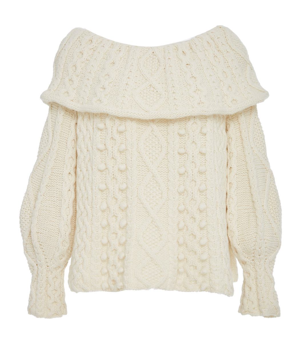 MARISA WITKIN Off-Shoulder Cable Knit Sweater in Ivory